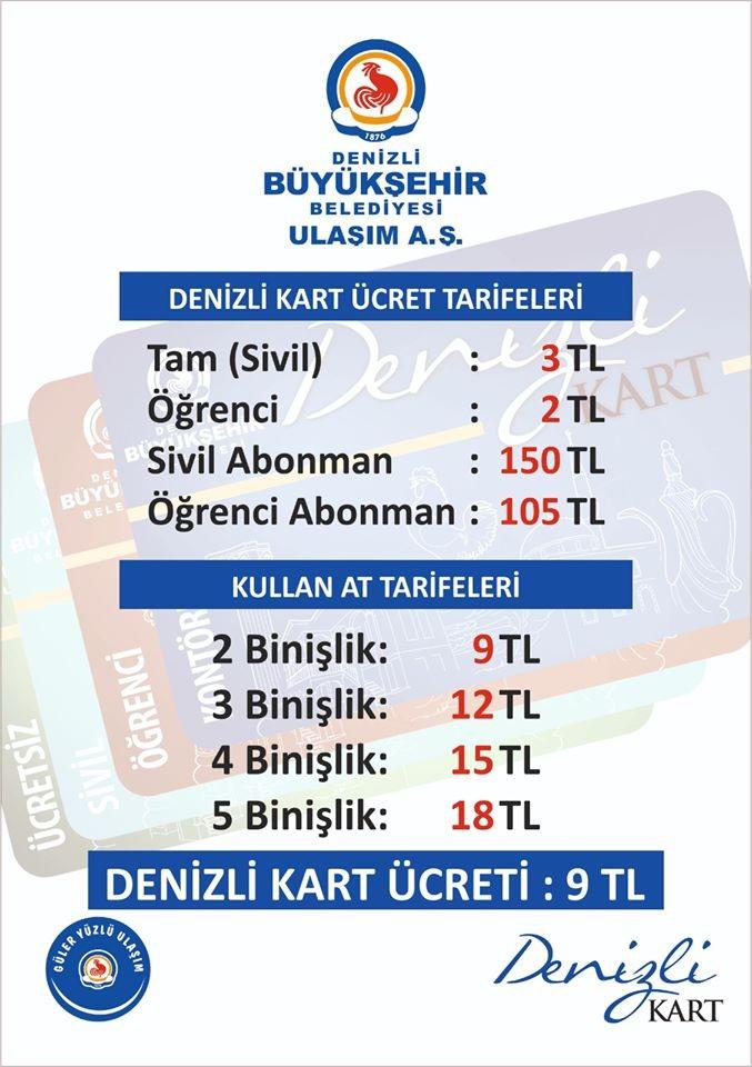 Denizli'de Otobüs Ücretleri Zamlandı