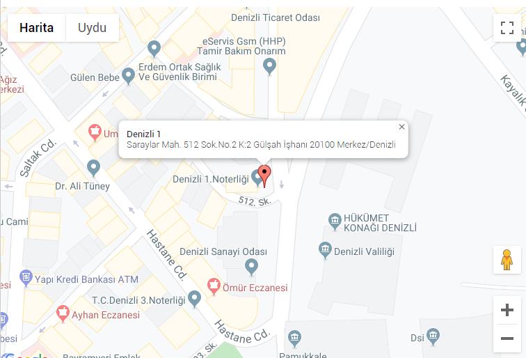 Denizli'de 28 Aralık Cumartesigünü Nöbetçi Noterler haritası