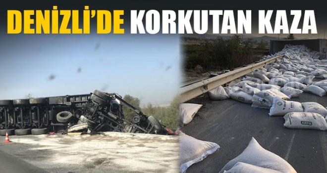 Denizli'de Korkutan Kaza: Tır Devrildi