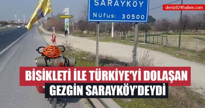 Bisikleti İle Türkiye'yi Dolaşan Gezgin Sarayköy'deydi