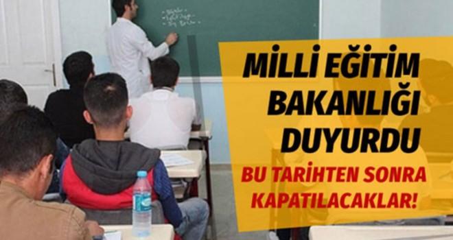 MEB açıkladı! Özel öğretim kursları kapatılıyor