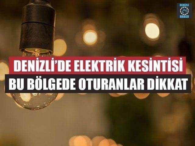 Denizli Elektrik Kesintisi 19 Eylül 2019