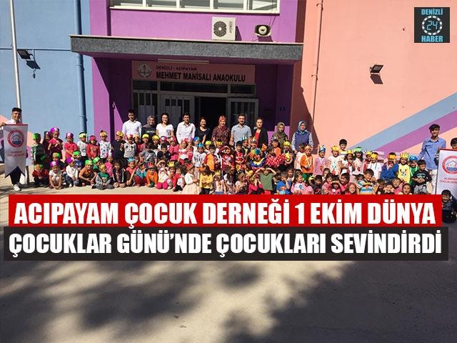 Acıpayam Çocuk Derneği, 1 Ekim Dünya Çocuklar Günü'nde Çocukları Sevindirdi