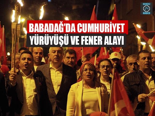 Babadağ'da Cumhuriyet Yürüyüşü ve Fener Alayı
