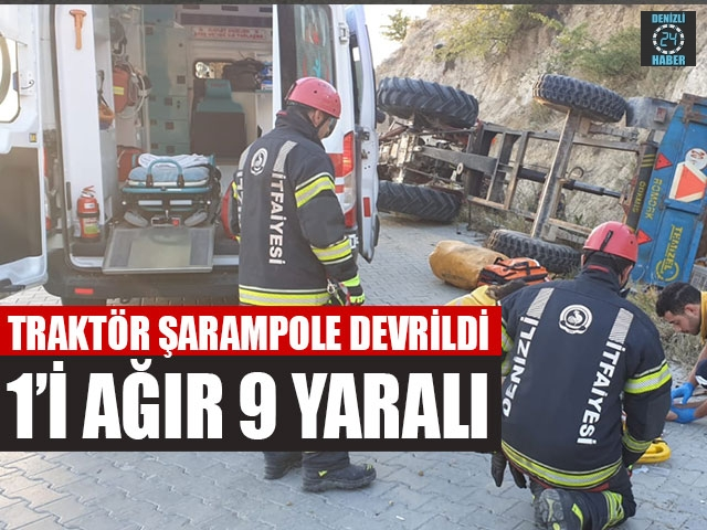 Traktör Şarampole Devrildi 1'i Ağır 9 Yaralı