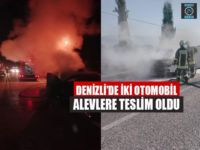 Denizli'de İki Otomobil Alevlere Teslim Oldu