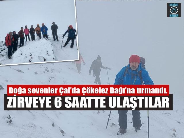 Çökelez Dağı'nın zirvesine 6 saatte tırmandılar