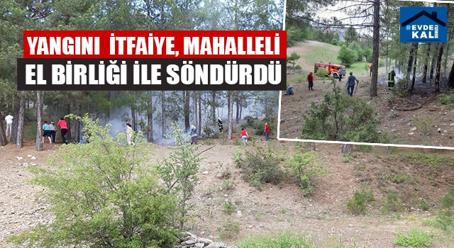 Yangını İtfaiye Mahalleli El Birliği İle Söndürdü