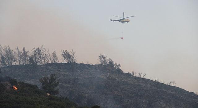 Menderes orman yangınının söndürme çalışmaları devam ediyor