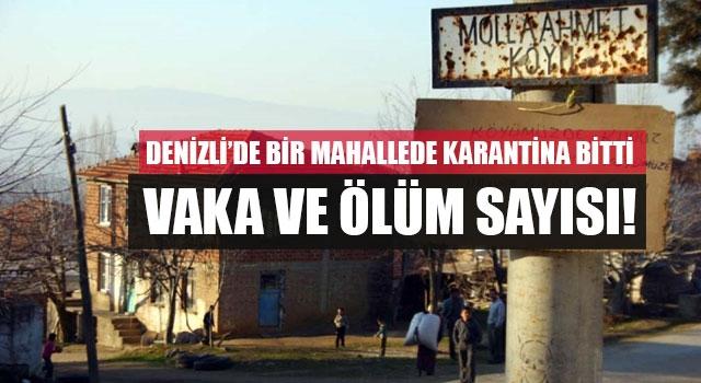 Babadağ'da Molla Ahmet Mahallesi'nde karantina bitti Vaka ve ölüm sayısı!