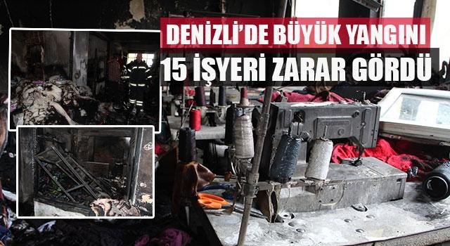 Denizli'de tekstil yangınında 15 işyeri zarar gördü