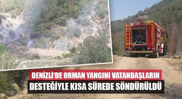 Denizli'de Orman yangını vatandaşların desteğiyle kısa sürede söndürüldü