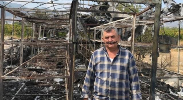Denizli'de sahipleri düğüne giden mantar tesisi yangında küle döndü