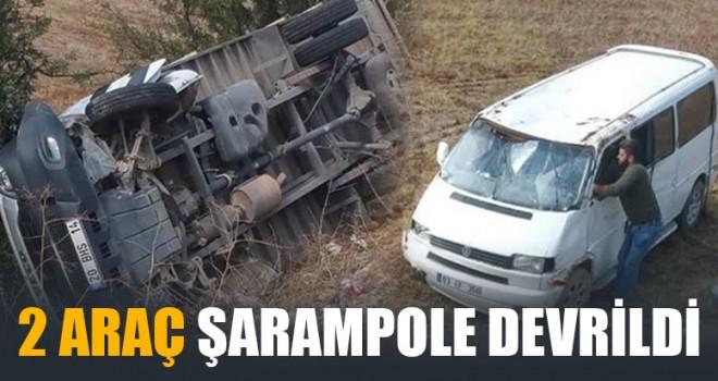 2 Araç Şarampole Devrildi