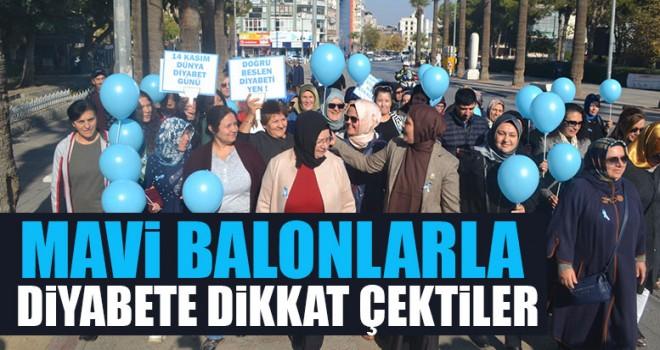 Mavi Balonlarla Diyabete Dikkat Çektiler