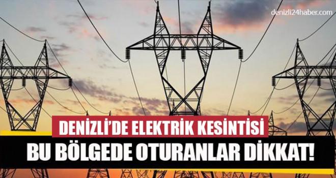 Denizli Elektrik Kesintisi 16 Mayıs 2019