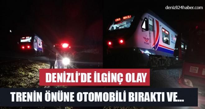 Denizli'de İlginç Olay Trenin Önüne Otomobili Bıraktı Ve…