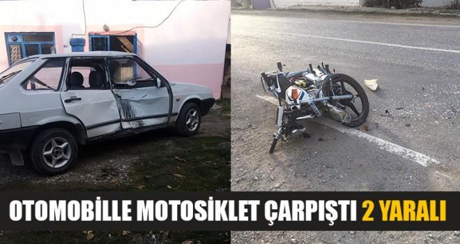 Otomobille Motosiklet Çarpıştı 2 Yaralı