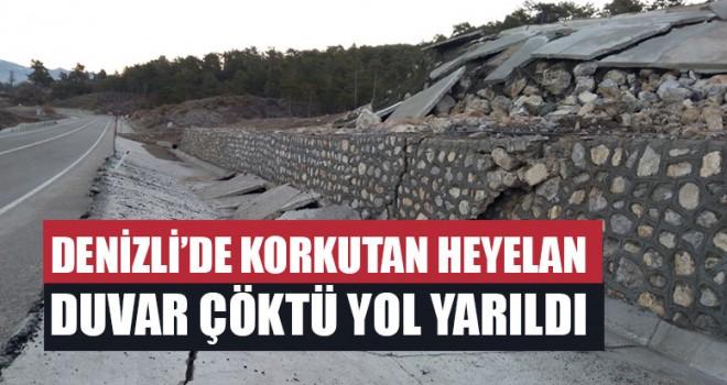 Denizli'de Korkutan Heyelan Duvar Çöktü Yol Yarıldı