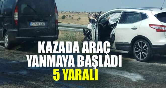 Kazada Araç Yanmaya Başladı 5 Yaralı
