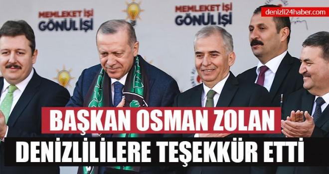Başkan Osman Zolan Denizlililere Teşekkür Etti