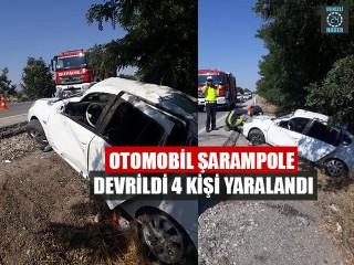 Otomobil Şarampole Devrildi 4 Kişi Yaralandı