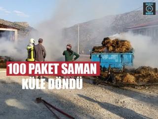 Saman Yüklü Traktör Römorku Alev Aldı