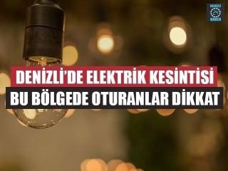 Denizli Elektrik Kesintisi 11 Eylül 2019