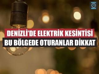 Denizli Elektrik Kesintisi 6 Eylül 2019