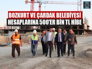 Bozkurt Ve Çardak Belediyesi Hesaplarına 500'er Bin Tl Hibe