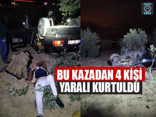 Otomobil Takla Attı, 4 Kişi Yaralı Kurtuldu