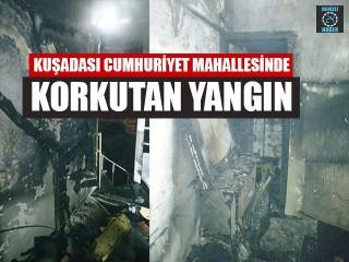 Aydın Kuşadası Cumhuriyet Mahallesinde Korkutan Yangın