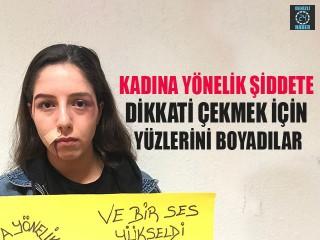 Kadına Yönelik Şiddete Dikkati Çekmek İçin Yüzlerini Boyadılar