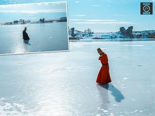 Afyonkarahisar'da Buz tutan Emre gölü üzerinde sema gösterisi