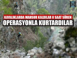 Kayalıklarda Mahsur Kaldılar 8 Saat Süren Operasyonla Kurtardılar