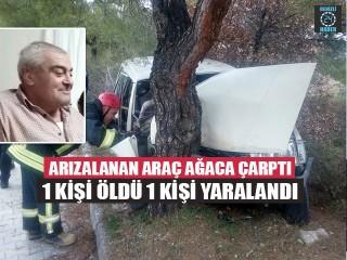 Arızalanan araç ağaca çarptı 1 kişi öldü 1 kişi yaralandı