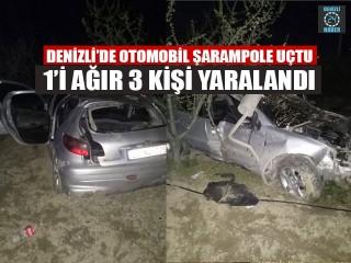 Denizli'de Otomobil Şarampole Uçtu 1'i Ağır 3 Kişi Yaralandı