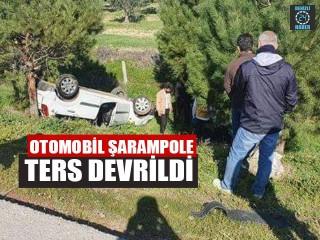 Otomobil Şarampole Ters Devrildi