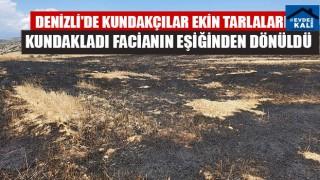 Denizli'de Kundakçılar Ekin Tarlalarını Kundakladı Facianın Eşiğinden Dönüldü