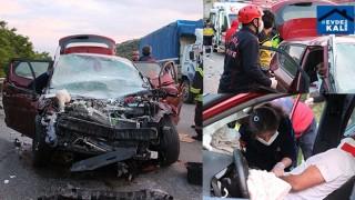 Manisa Kula'da otomobil ile tır çarpıştı 2 ağır yaralı