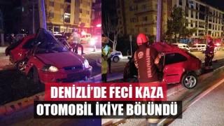 Denizli'de Feci Kaza Otomobil İkiye Bölündü