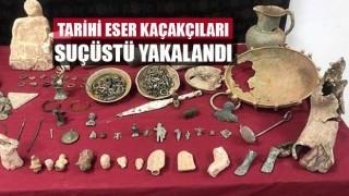 Denizli'de tarihi eser kaçakçıları suçüstü yakalandı