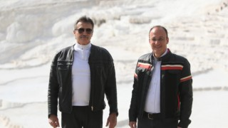 Bakan Tüzmen ve Başkan Örki Pamukkale'yi motosikletle turladı