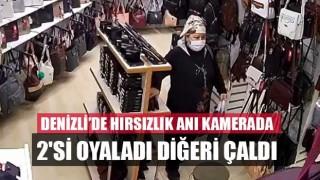 Denizli'de hırsızlık anı kamerada 2'si oyaladı diğeri çaldı