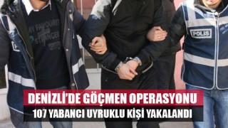 Denizli'de 107 göçmen yakalandı